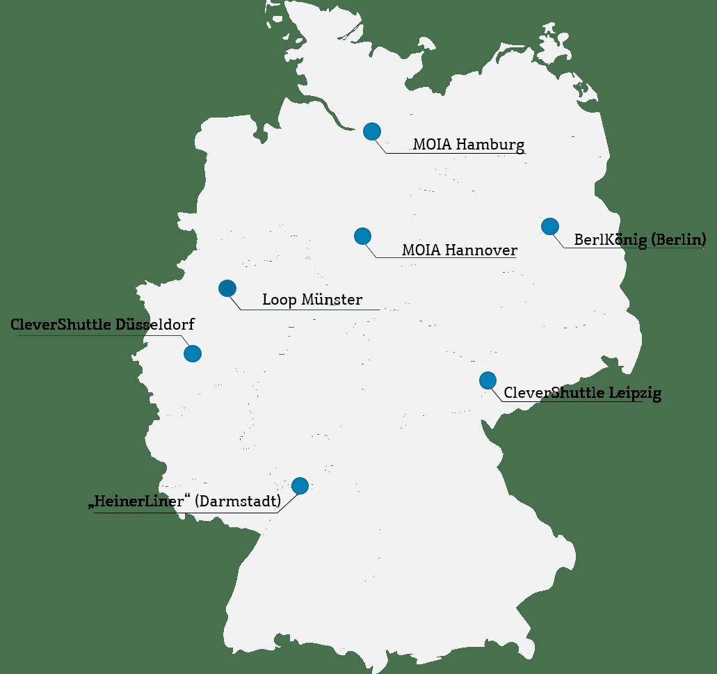 Etablierte Pooling-Verkehre in Deutschland, Quelle: VDV, Ride-Pooling in Deutschland